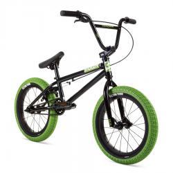 Stolen 2021 AGENT 16 Black with Gang Green Tires BMX bike